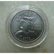 5435 Eua - Quarter Dollar 2002, Acrilico Fc, Louisiana