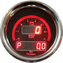 Velocímetro Digital Com Odometro E Conta Giros 85mm Guster