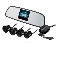 Retrovisor Lcd 3,5 + Câmera E Sensor De Ré Preto - Kx3