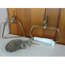 Conjunto Banheiro - Saboneteira Etc.. Metal Amarelo - Antigo