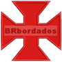 Patch Bordado Trj005 Cruz De Malta Pátea Vasco Antigo Escudo