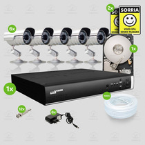 Kit Segurança Dvr Luxvision 8 Canais 1 Hd 6 Câmera Sony