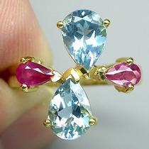 Topázio London Blue, Rubi- Ouro 14k- Anel Prata 925-f Grátis