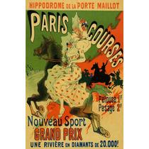 Paris Corrida Cavalo Mulher Esporte Poster Repro