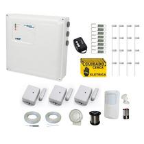Kit Cerca Elétrica E Kit Alarme S/ Fio 40 Metros 4s +brinde