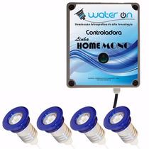 Kit Iluminação Piscina 4 Refletor 12w Led Azul + Fonte
