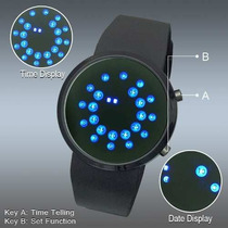 Relogio Led Preto Azul Matrix Pulseira Silicone Dial Digital
