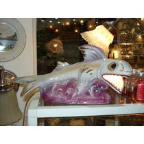 Luminária Anos 50 Em Porcelana Figura De Peixe Para Mesa