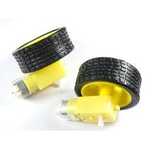 2 Pcs X Motor Dc 3-6v + Caixa De Redução + Roda - Arduino