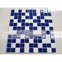Pastilha Miscelânea Vidro Cristal Azul Com Branco R$ 15,90