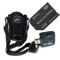 Cartão Memória Sony Pro Duo 4gb+ Leitor + Bolsa P/ Dsc-w110