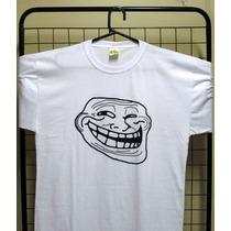 Camiseta Branca - Memes - Troll Face - 100% Algodão - Silk