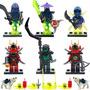 Kit Lego Ninjago Ninjas - 6 Bonecos E 2 Lobos Ninja Go