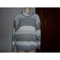 Blusa/casaco Em Lã - Trabalhada Fios Prata- T.unico