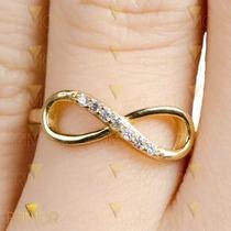 Anel De Ouro Símbolo Do Infinito Com 7 Diamantes E 3g An044