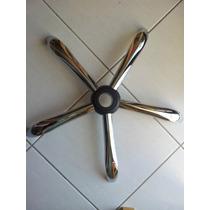 Base Estrela Cromada Cadeira Off Pres Plus C/ Kit 05 Rodinha