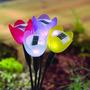 12 Luminária Luz Led Solar De Jardim Flor Tulipa Decoração