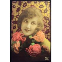 Frete Grátis: Cartão Postal / Dama Detalhe Flores