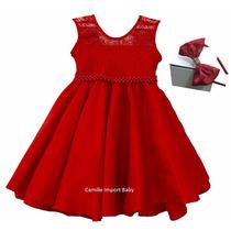 Vestido Infantil De Festa Turma Da Monica Com Tiara
