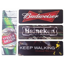Kit 4 Placa Decorativa Bebidas P/ Bares E Churrasqueiras