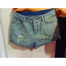 Short Jeans Desfiado Rasgado Cintura Alta M