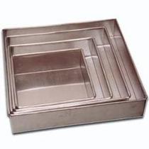 Conjunto Com 4 Formas Quadradas Altas Para Bolo Em Aluminio