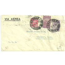 Envelope Aéreo 1933 Para Usa - Selos Réis De 1929 E 1930