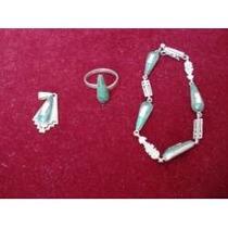 Antiguidade Conjunto Jade Prata Ouro Anel Pulseira Pigente