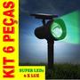 Luminária Solar Luz Verde Jardim Spot Refletor Kit 6 Peças