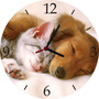 Relógio De Parede Em Vinil, Gato E Cachorro