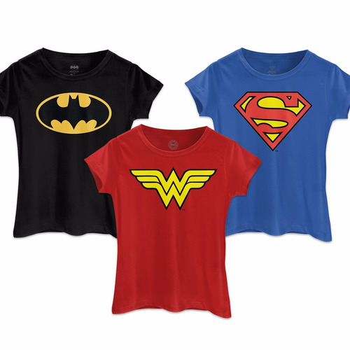Kit 3 Camisetas Femininas Batman Wonder Woman Superman