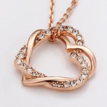 Colar Coração Folheado A Ouro C/cristais Swarovski Frete Gr
