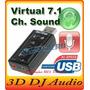 Placa De Audio 7.1 E Mocrofone Usb Adaptador Som 3d