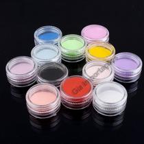 12x Potes De Pó Acrílico Coloridos - Decoração De Unhas