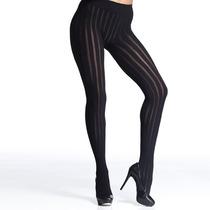Meia Calça Canelada Listrada Preta Trifil Fio 100 Fashion