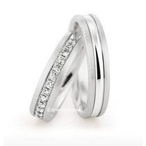 Unidade Feminino,ouro Branco 18k Com 14 Diamantes.