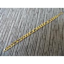 Pulseira Grumete 4x2 Folheada Ouro 18k 8mm 19cm 11 Gramas