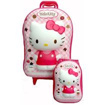 Hello Kitty Mochila Infantil 3d Com Rodinhas E Lancheira