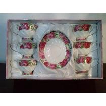 Conjunto De Chá Floral Em Porcelana.