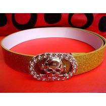 Cinto Caveira Glitter Dourado