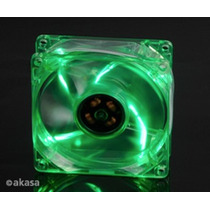 Cooler Fan 80mm Akasa Leds Verde Ak170cg-4gns 3/4 Pinos