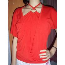 Linda Blusa Bata Algodão Vermelha Veste M