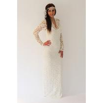 Vestido De Noiva Sob Medida Renda Manga Longa Estilo Vintage