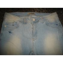 Calça Jeans Azul Clara,desfiada,rock,shoulder, Tam 48