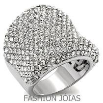 Anel Fashion Cravejado Com Zirconias Em Prata- Luxo