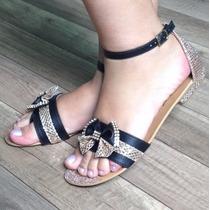 Sandália Rasteira Fashion Brilho Strass Laço Vermelha Preta