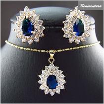 Conjunto Ouro 18k Azul Safira E Topázios Brancos