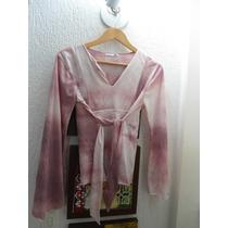 Bata Blusa Linda, Mesclada De Branco E Rosa Clarinho Veste G