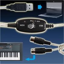 Cabo Interface Usb Suporte Midi Adaptador Conversor Audio ¿