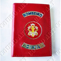 Carteira Bombeiro Civil - Vermelha - 100% Couro *